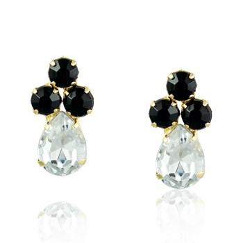 Brinco Pedra Preta e Cristal - BR344