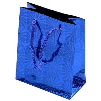 Sacolinha Pequena Papel Holográfico Azul - 7 x 6 cm - SC04