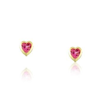 Brinco Strass Coração Pink- Infantil - BR368