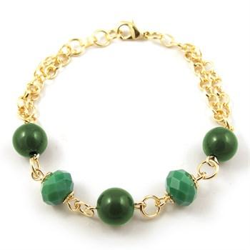 Pulseira Pedra e Cristal Verde - PL138