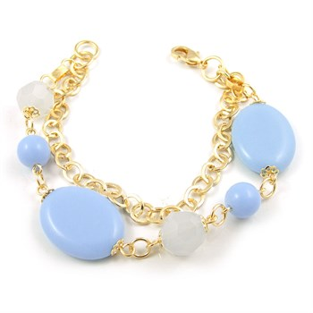Pulseira Pedra Azul e Cristal - PL127
