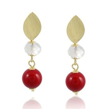 Brinco Cristal e Pedra Vermelha - BR121