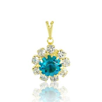 Pingente Flor Strass Cristal e Azul - PG41