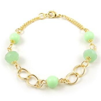 Pulseira Pedra e Cristal Verde - PL130