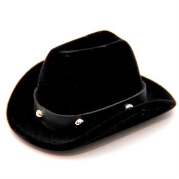 Caixinha veludo Chapéu Cowboy - Brinco ou Anel - Preto - CX15