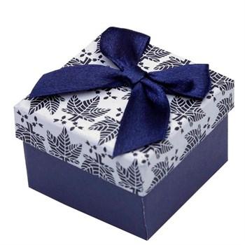 Caixinha Brinco ou Anel - Azul e Branco - 5 x 5 cm CX19