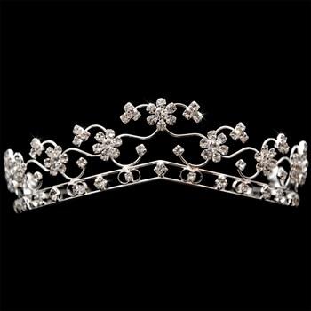 Coroa Cristais Daminha ou Debutante Banhada 30 Milésimos Prata - CR03