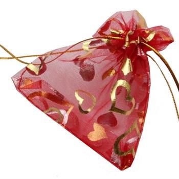 Saquinho Organza Vermelho Coração Dourado - 11,5 x 8,5 cm - SQ02