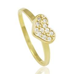Anel Coração Zircônias Semi joias Atacado  -  AN1263