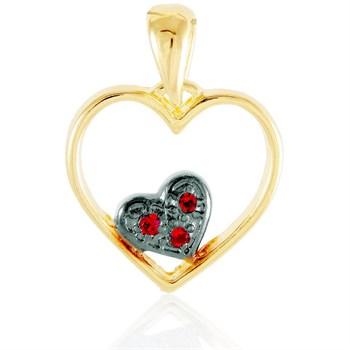 Coração com Coração Strass e Ródio Negro - PG07