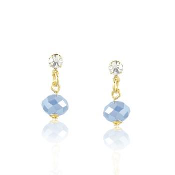 Brinco Strass e Cristal Azul - BR426