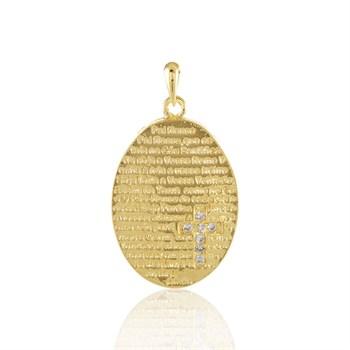 Pingente Medalha Pai Nosso e Strass - PG130
