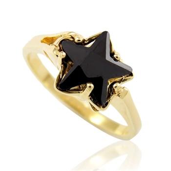 Anel Estrela Zircônia Preta - AN160