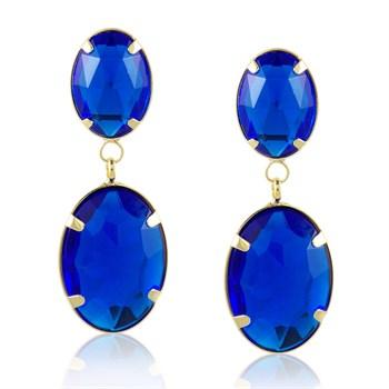 Brinco Pedra Oval Azul - BR654