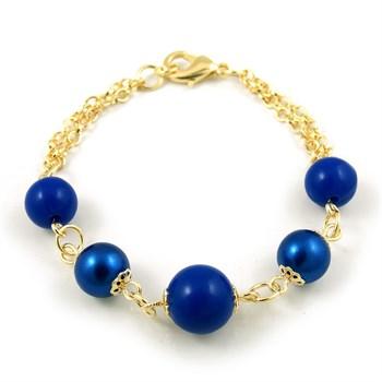 Pulseira Pedra e Pérola Azul - PL132