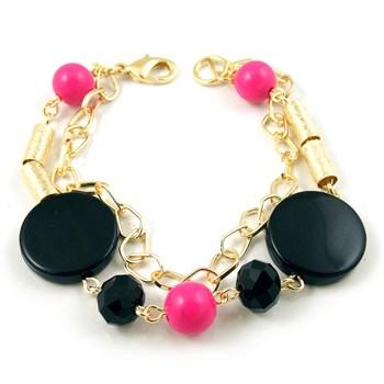 Pulseira Pedra Pink, Pedra Preta e Cristal Preto - PL133