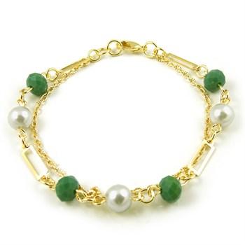 Pulseira Cristal Verde e Pérola - PL134