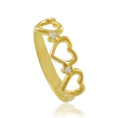 Anel Corações e Zircônias Semi joias Atacado  -  AN1054