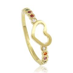 Anel Coração Zircônias Semi joias Atacado  -  AN1379