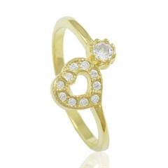 Anel Coração Zircônias Semi joias Atacado  -  AN1305