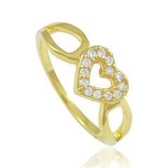 Anel Coração Zircônias Semi joias Atacado  -  AN1322