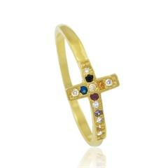 Anel Cruz Zircônias Coloridas Semi joias Atacado  -  AN1341