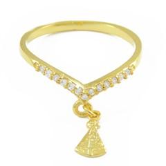 Anel Nossa Senhora Aparecida Zircônias Semi joias Atacado  -  AN1343