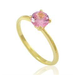 Anel Zircônia Rosa Semi joias Atacado  -  AN1351