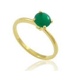 Anel Zircônia Verde Semi joias Atacado  -  AN1349