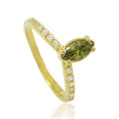 Anel Zircônia Verde e Zircônias Semi joias Atacado  -  AN1364