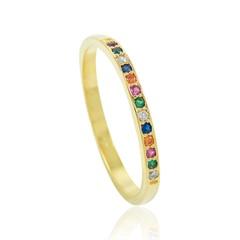 Anel Zircônias Coloridas Semi joias Atacado  -  AN1382