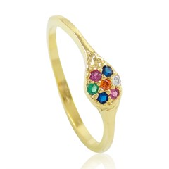 Anel Flor Zircônias Coloridas Semi joias Atacado  -  AN1383