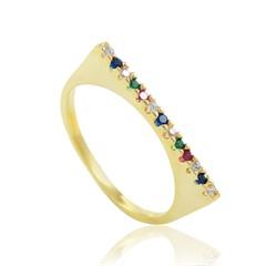 Anel Zircônias Coloridas Semi joias Atacado  -  AN1389
