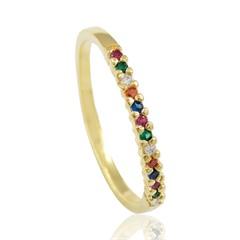 Anel Zircônias Coloridas Semi joias Atacado  -  AN1375