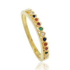 Anel Zircônias Coloridas Semi joias Atacado  -  AN1377