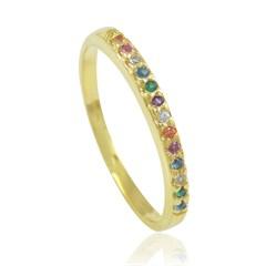 Anel Zircônias Coloridas Semi joias Atacado  -  AN1323