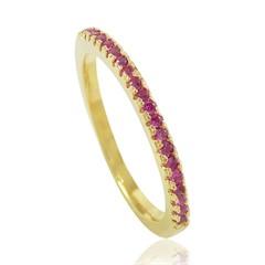 Anel Zircônias Pink Semi joias Atacado  -  AN1388