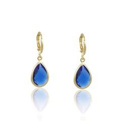 Brinco Argola Pedra Azul Semi joias Atacado  -  BR4785