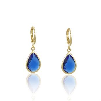 Brinco Argola Pedra Azul - BR4785