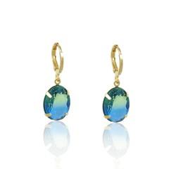 Brinco Argola Pedra Rainbow Azul Semi joias Atacado  -  BR4786