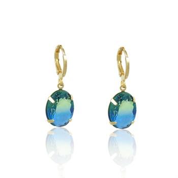 Brinco Argola Pedra Rainbow Azul - BR4786