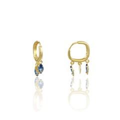Brinco Argola Coraçãozinho e Zircônia Azul Semi joias Atacado  -  BR4792