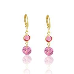 Brinco Argola Zircônia Rosa Semi joias Atacado  -  BR4860