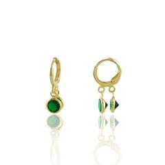 Brinco Argola Zircônia Verde Semi joias Atacado  -  BR4820