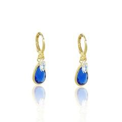 Brinco Argola Zircônia e Cristal Azul Semi joias Atacado  -  BR4524