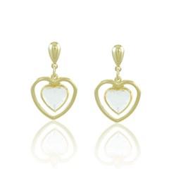 Brinco Coração Cristal Semi joias Atacado  -  BR4454