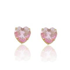 Brinco Coração Médio Zircônia Rosa Semi joias Atacado  -  BR4711