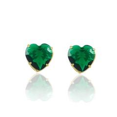 Brinco Coração Médio Zircônia Verde Semi joias Atacado  -  BR4709