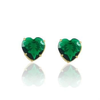 Brinco Coração Médio Zircônia Verde - BR4709