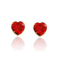 Brinco Coração Médio Zircônia Vermelha Semi joias Atacado  -  BR4710
